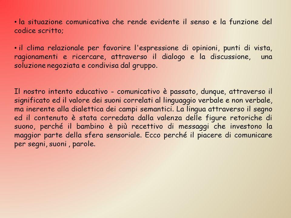 la situazione comunicativa che rende evidente il senso e la funzione del codice scritto;