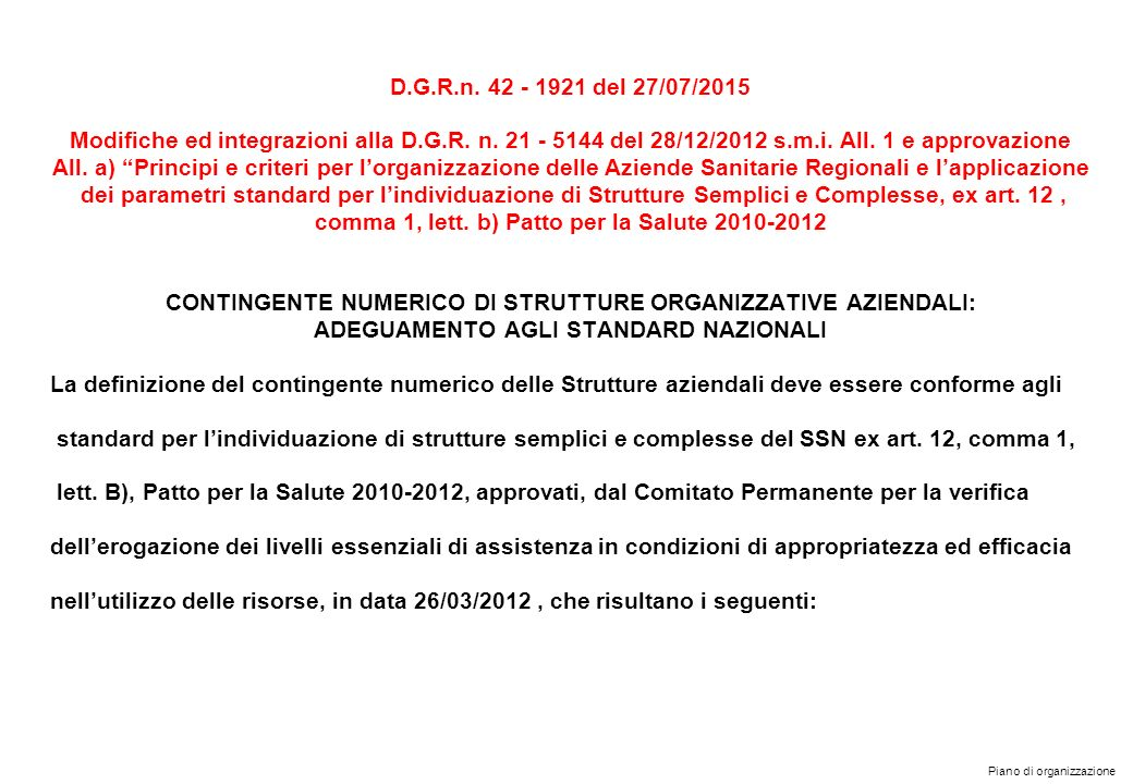 comma 1, lett. b) Patto per la Salute 2010-2012