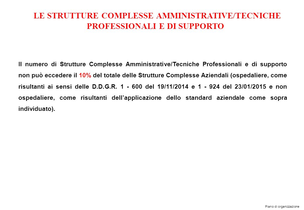 LE STRUTTURE COMPLESSE AMMINISTRATIVE/TECNICHE