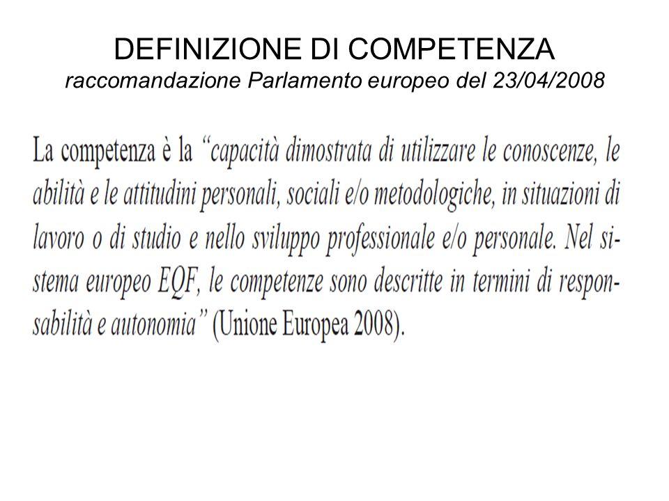 DEFINIZIONE DI COMPETENZA raccomandazione Parlamento europeo del 23/04/2008