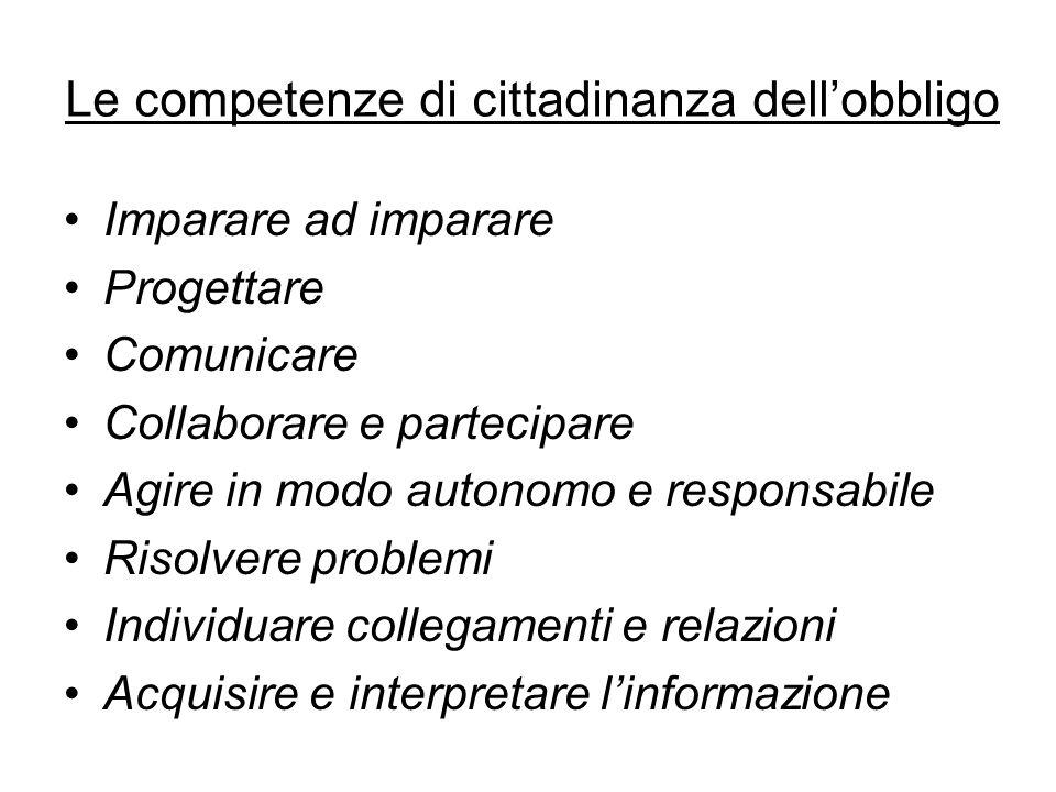 Le competenze di cittadinanza dell'obbligo