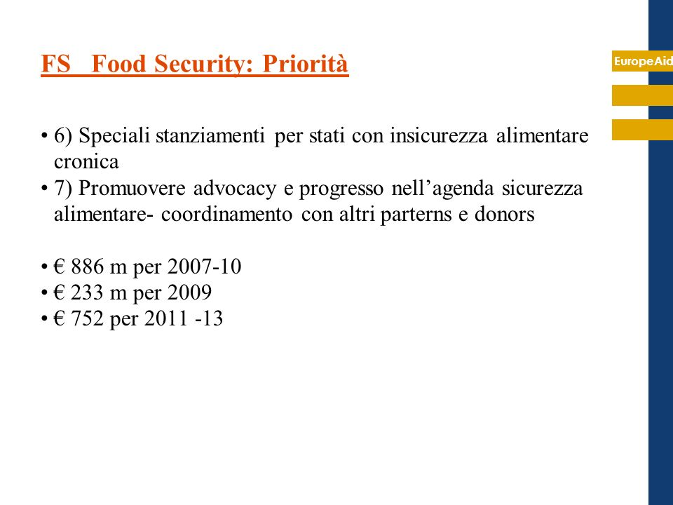 FS Food Security: Priorità
