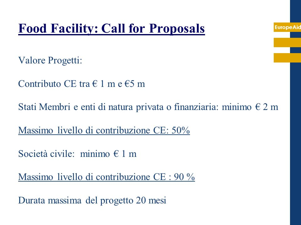 Food Facility: Call for Proposals