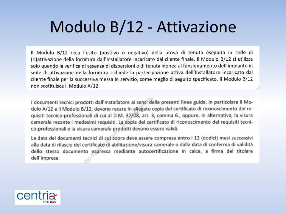 Modulo B/12 - Attivazione