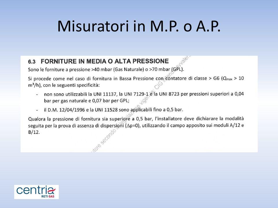 Misuratori in M.P. o A.P.