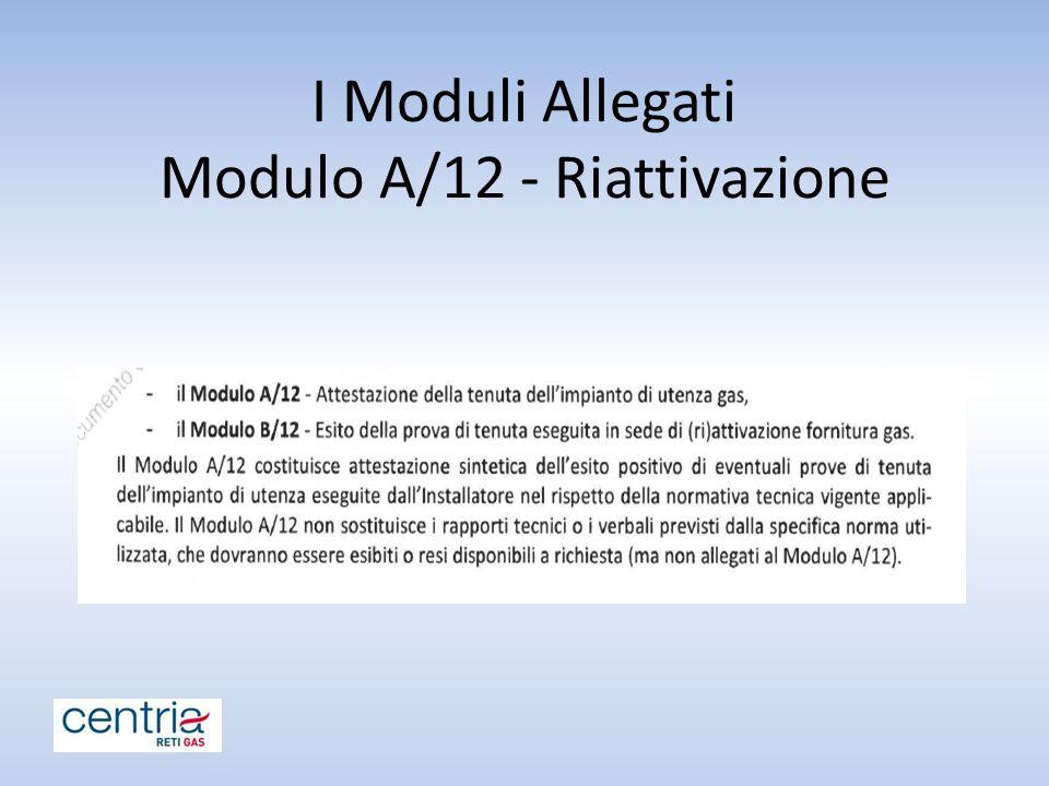 I Moduli Allegati Modulo A/12 - Riattivazione