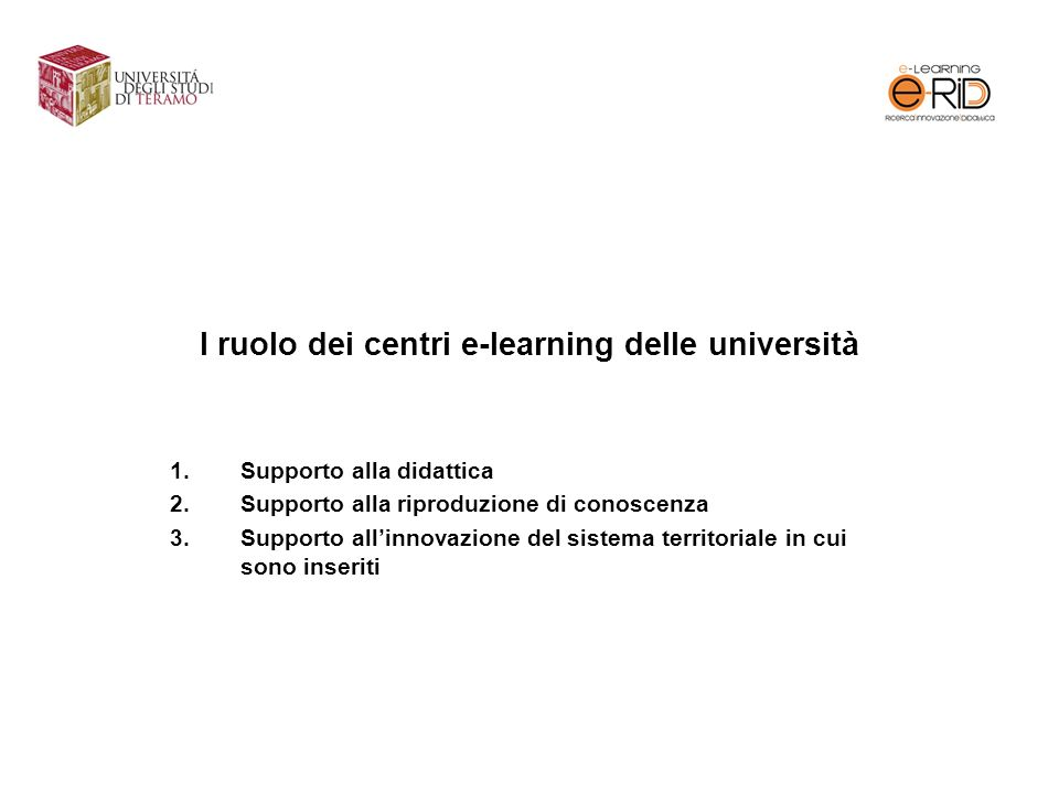 I ruolo dei centri e-learning delle università