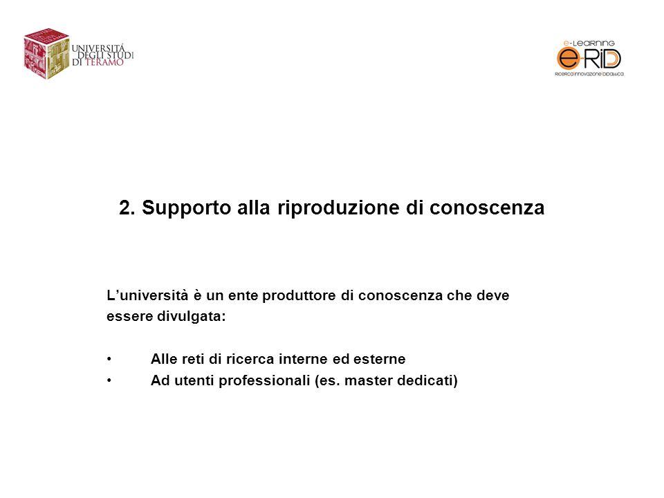 2. Supporto alla riproduzione di conoscenza