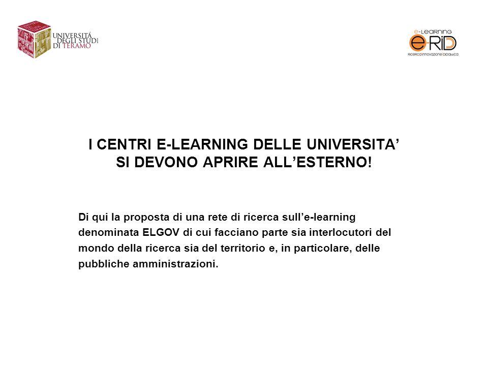 I CENTRI E-LEARNING DELLE UNIVERSITA' SI DEVONO APRIRE ALL'ESTERNO!
