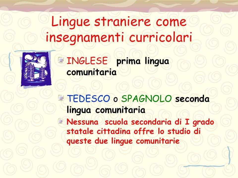 Lingue straniere come insegnamenti curricolari