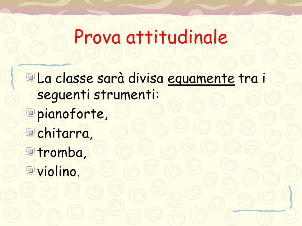 Prova attitudinale La classe sarà divisa equamente tra i seguenti strumenti: pianoforte, chitarra,