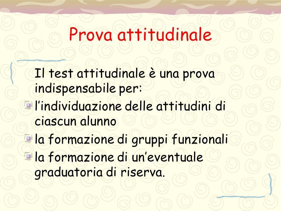 Prova attitudinale Il test attitudinale è una prova indispensabile per: l'individuazione delle attitudini di ciascun alunno.