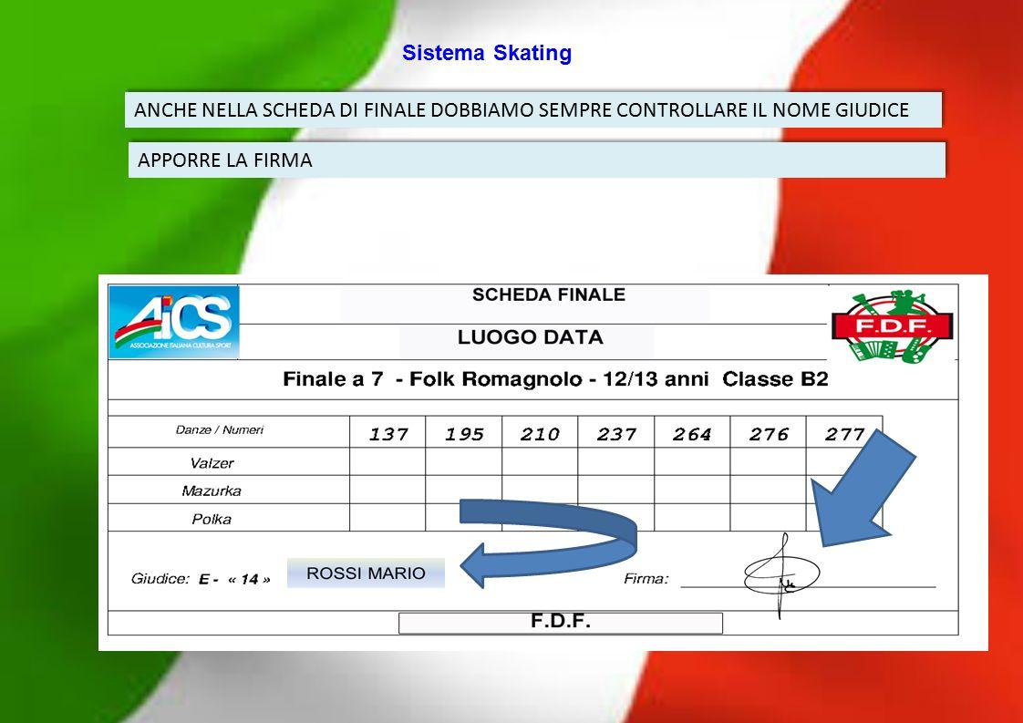 Sistema Skating ANCHE NELLA SCHEDA DI FINALE DOBBIAMO SEMPRE CONTROLLARE IL NOME GIUDICE.