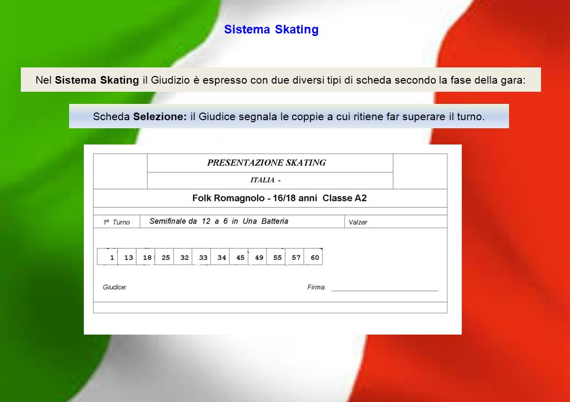 Sistema Skating Nel Sistema Skating il Giudizio è espresso con due diversi tipi di scheda secondo la fase della gara: