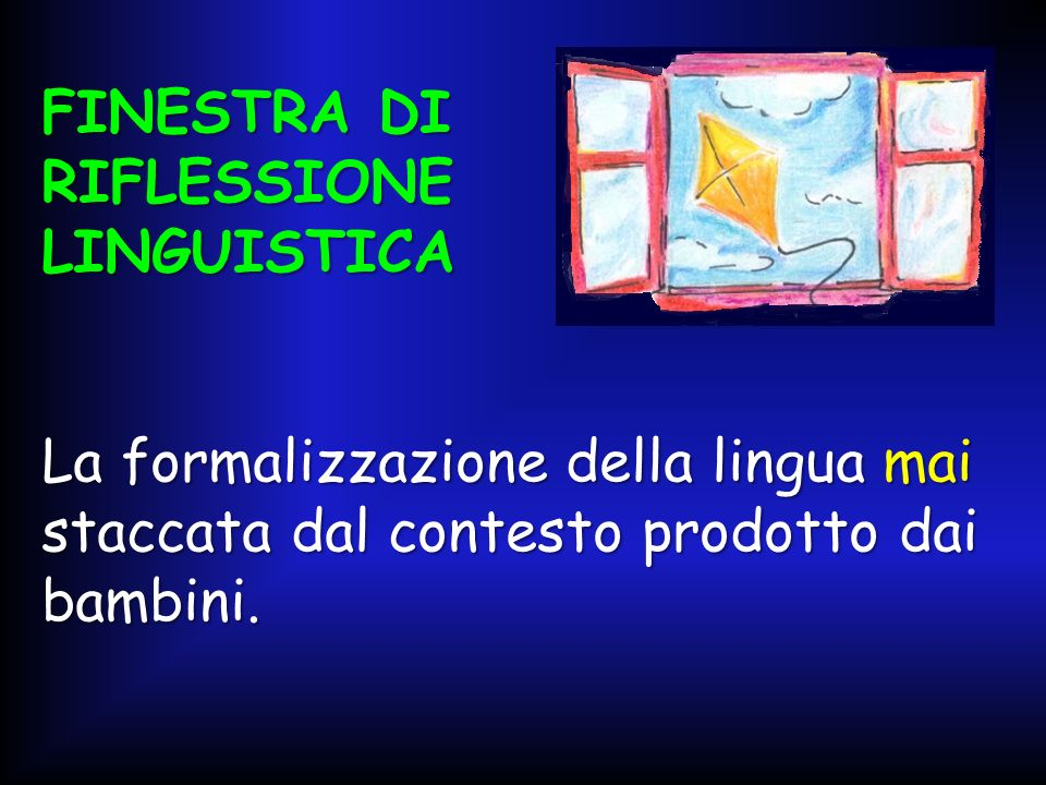 FINESTRA DI RIFLESSIONE LINGUISTICA