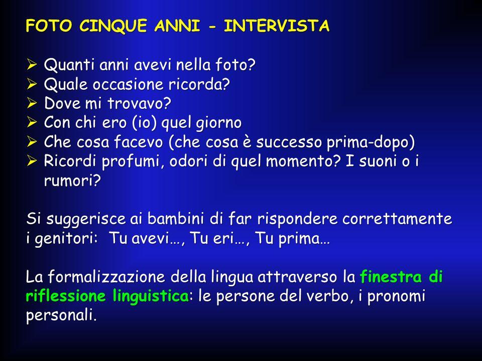 FOTO CINQUE ANNI - INTERVISTA