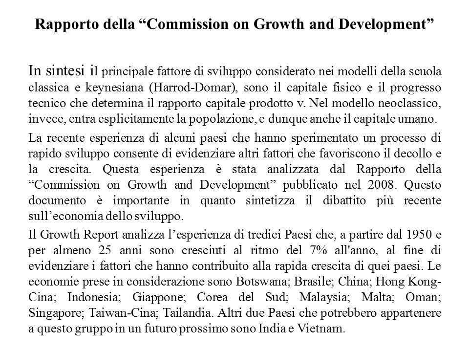 Rapporto della Commission on Growth and Development