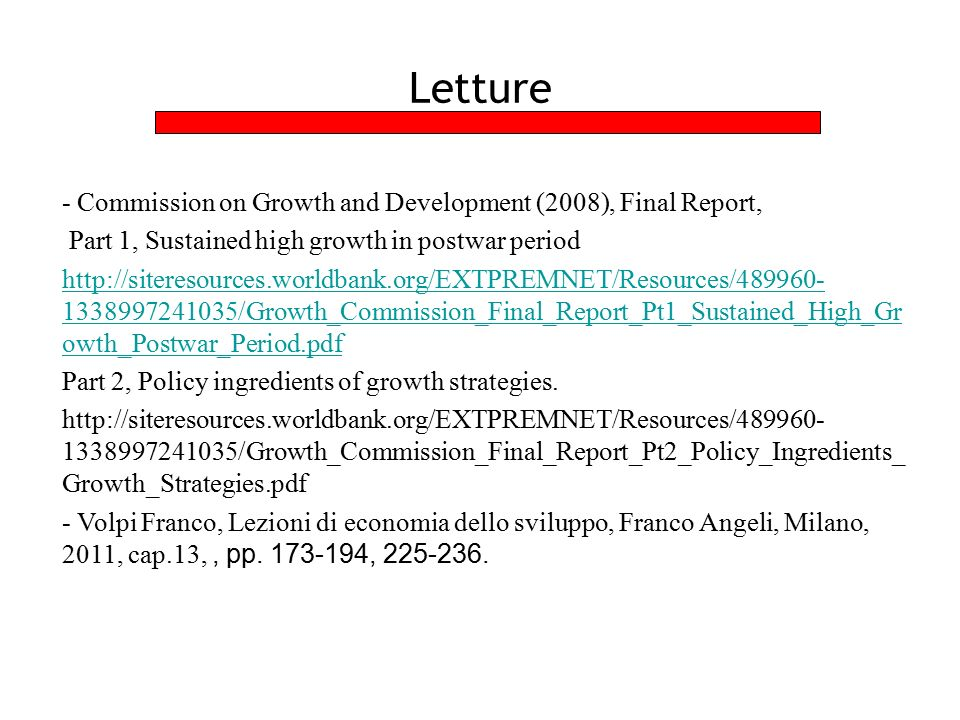 Letture - Commission on Growth and Development (2008), Final Report,