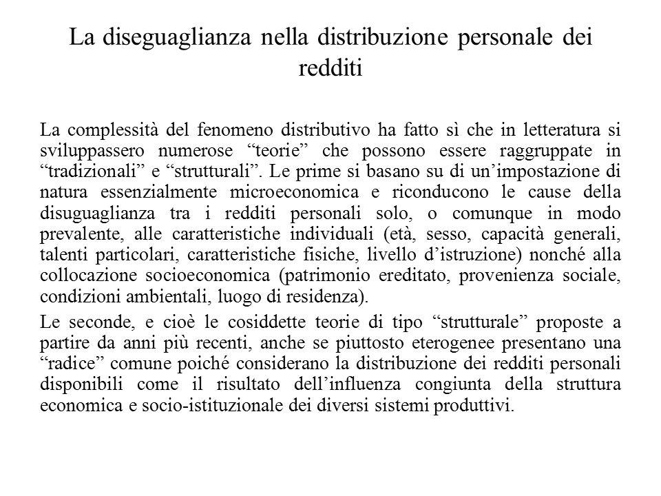 La diseguaglianza nella distribuzione personale dei redditi
