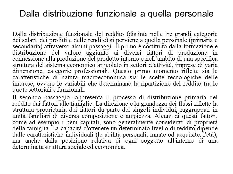 Dalla distribuzione funzionale a quella personale