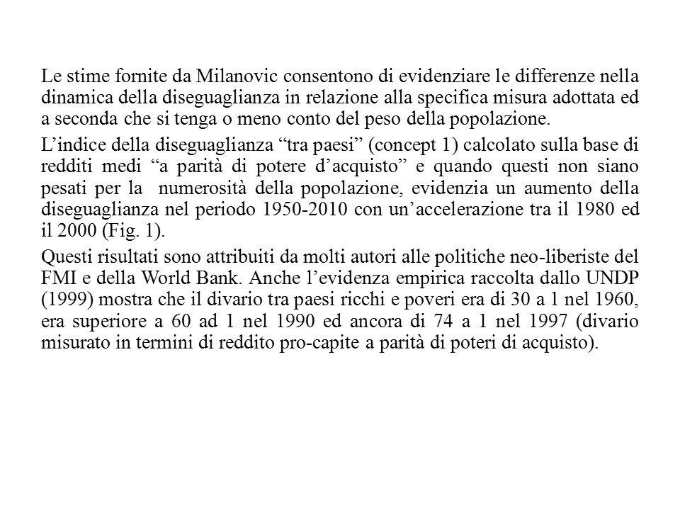 Le stime fornite da Milanovic consentono di evidenziare le differenze nella dinamica della diseguaglianza in relazione alla specifica misura adottata ed a seconda che si tenga o meno conto del peso della popolazione.