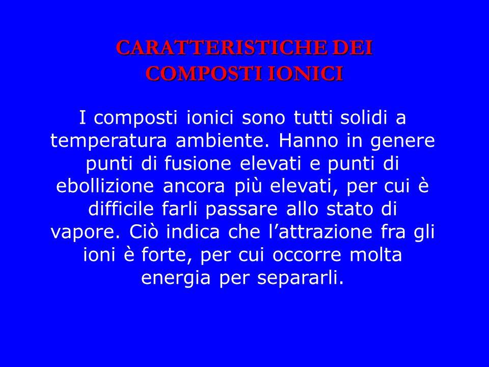 CARATTERISTICHE DEI COMPOSTI IONICI