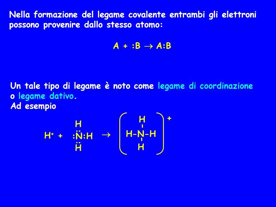 Nella formazione del legame covalente entrambi gli elettroni possono provenire dallo stesso atomo: