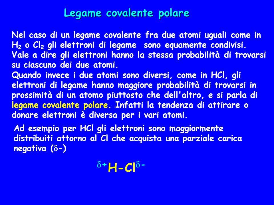 H-Cl Legame covalente polare - +