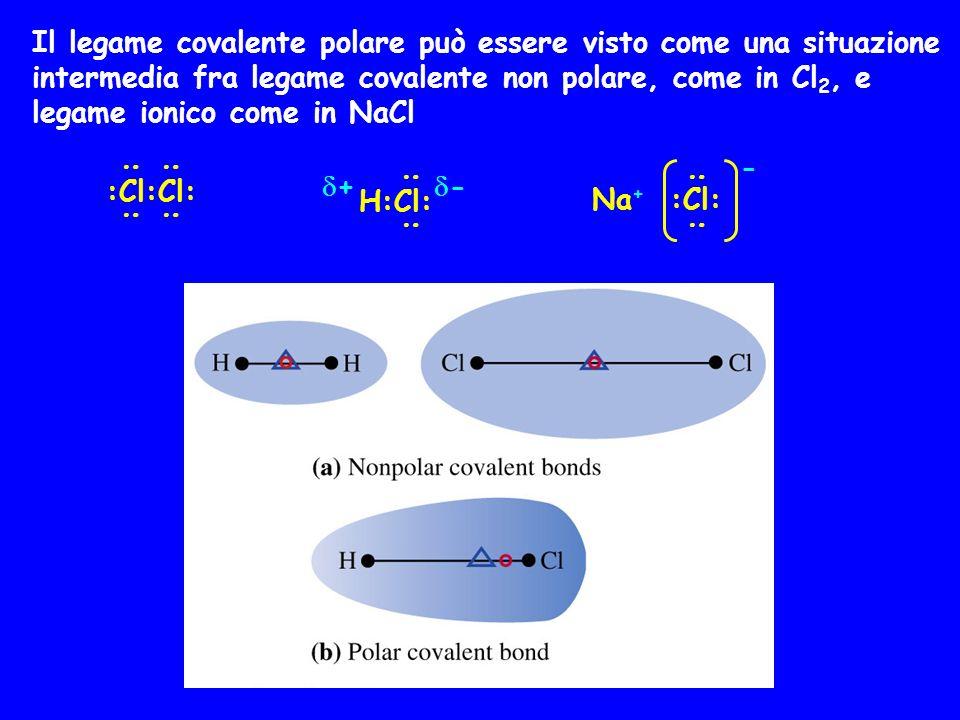 Il legame covalente polare può essere visto come una situazione intermedia fra legame covalente non polare, come in Cl2, e legame ionico come in NaCl
