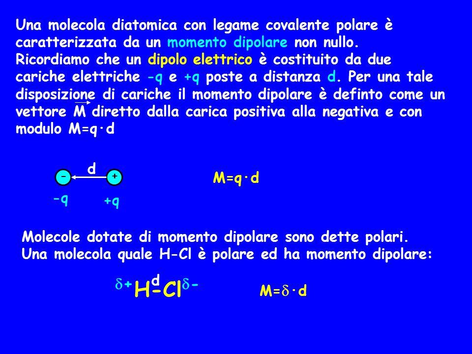 Una molecola diatomica con legame covalente polare è caratterizzata da un momento dipolare non nullo.