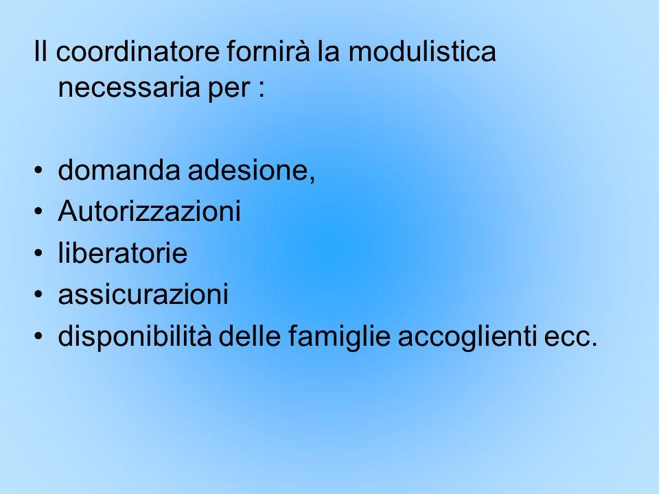 Il coordinatore fornirà la modulistica necessaria per :