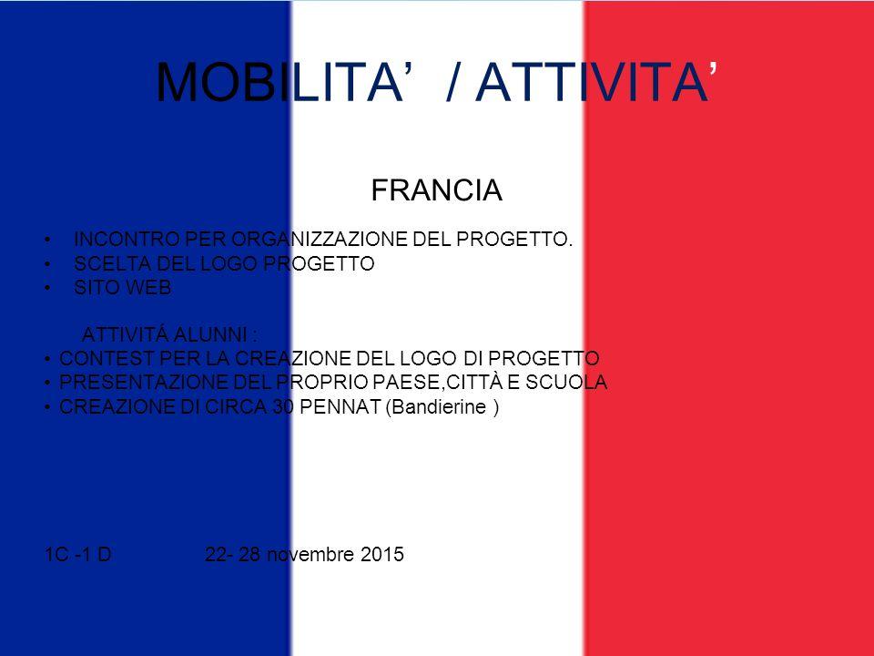 MOBILITA' / ATTIVITA' FRANCIA