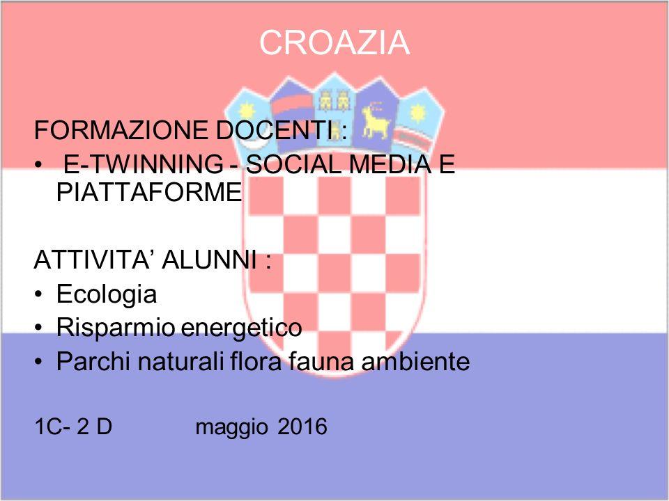 CROAZIA FORMAZIONE DOCENTI : E-TWINNING - SOCIAL MEDIA E PIATTAFORME