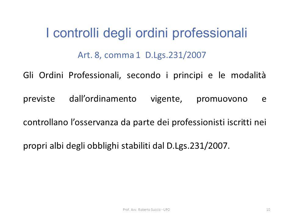 I controlli degli ordini professionali