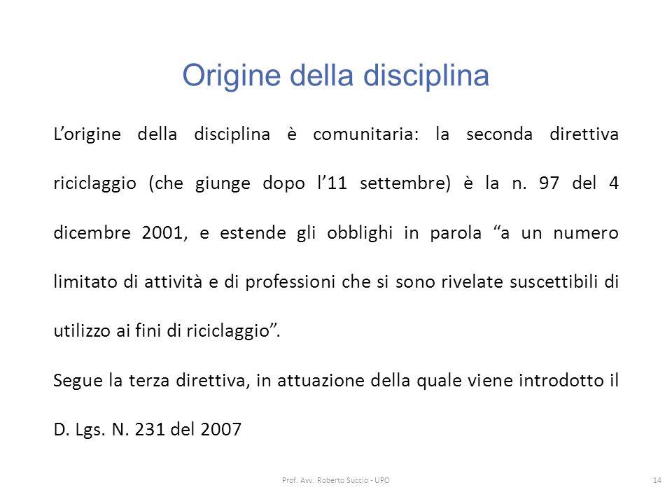 Origine della disciplina