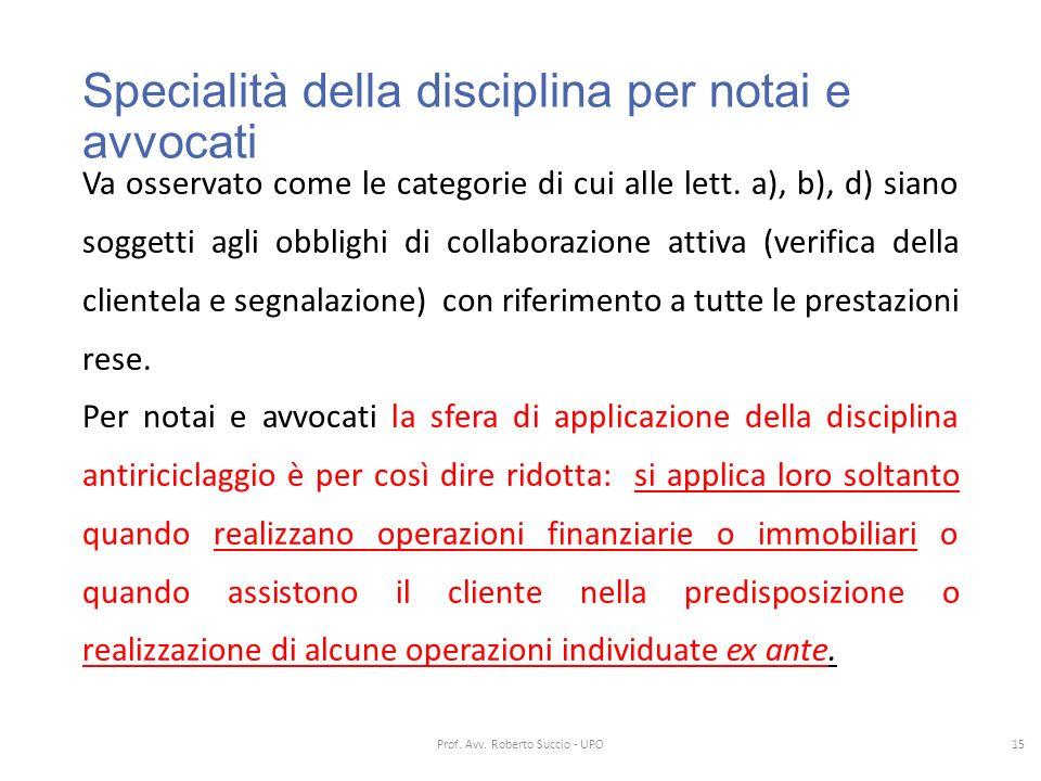 Specialità della disciplina per notai e avvocati