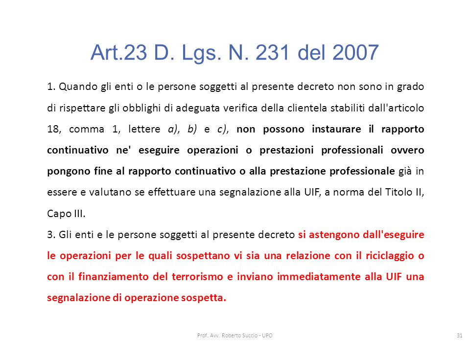 Prof. Avv. Roberto Succio - UPO
