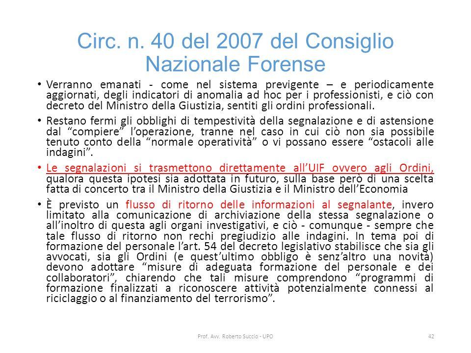 Circ. n. 40 del 2007 del Consiglio Nazionale Forense