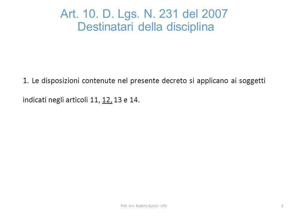 Art. 10. D. Lgs. N. 231 del 2007 Destinatari della disciplina