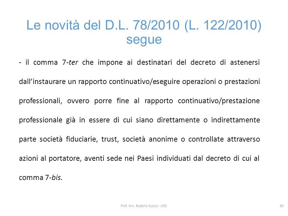 Le novità del D.L. 78/2010 (L. 122/2010) segue