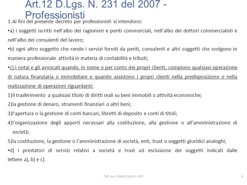Art.12 D.Lgs. N. 231 del 2007 - Professionisti