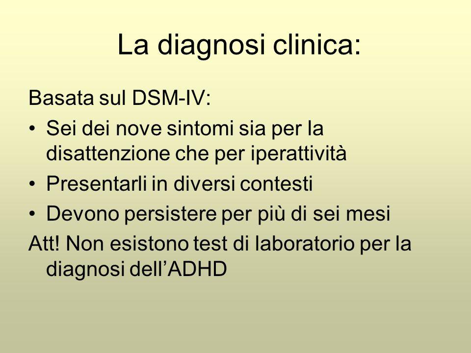 La diagnosi clinica: Basata sul DSM-IV: