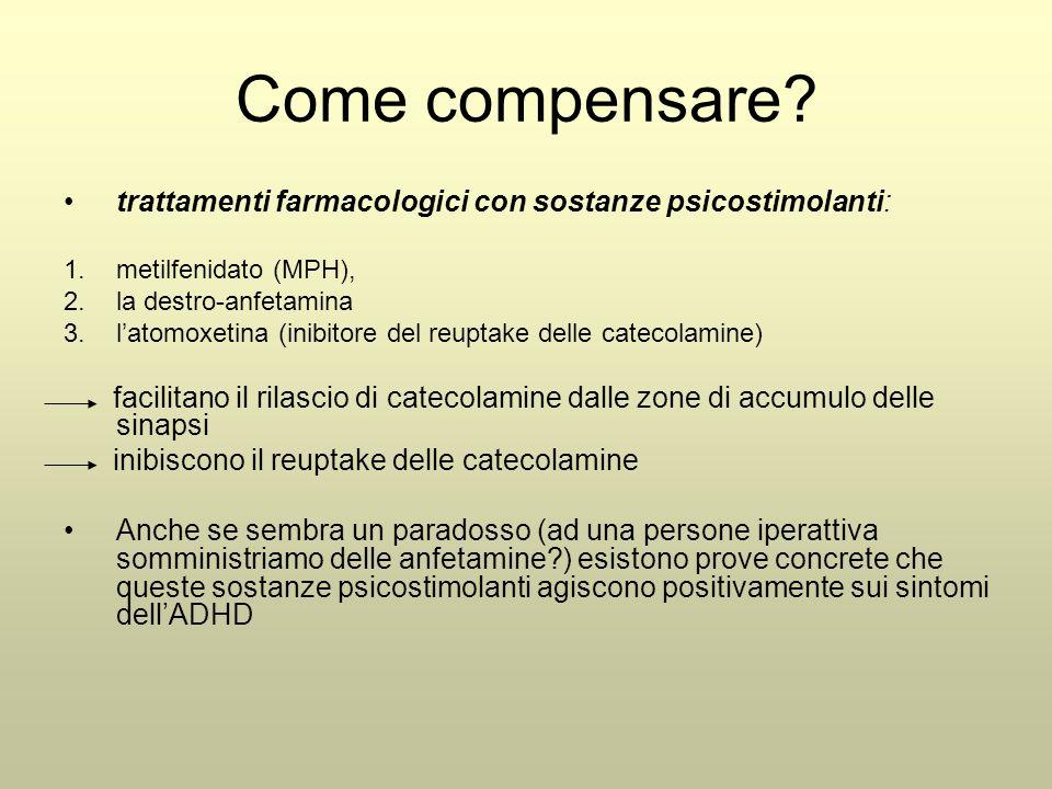 Come compensare trattamenti farmacologici con sostanze psicostimolanti: metilfenidato (MPH), la destro-anfetamina.