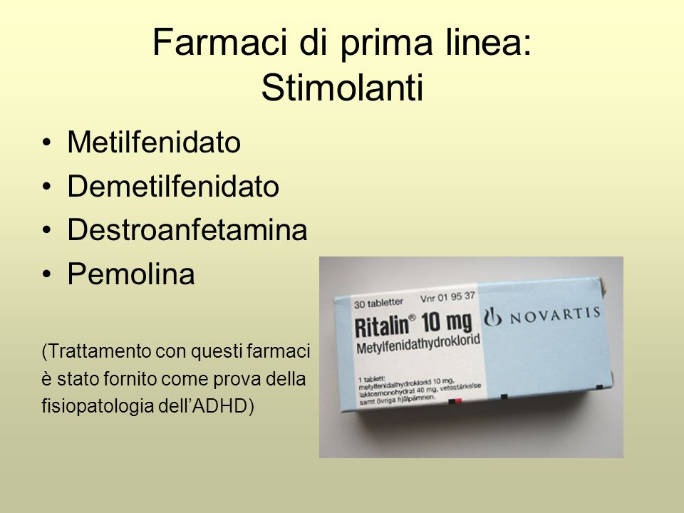 Farmaci di prima linea: Stimolanti
