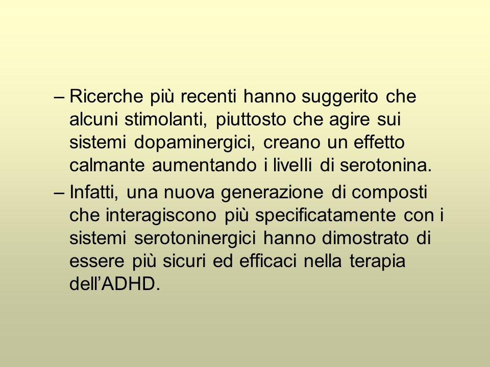 Ricerche più recenti hanno suggerito che alcuni stimolanti, piuttosto che agire sui sistemi dopaminergici, creano un effetto calmante aumentando i livelli di serotonina.