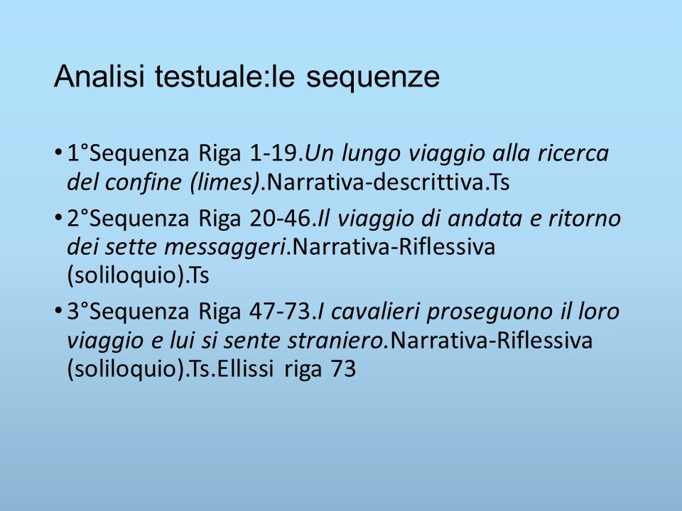Analisi testuale:le sequenze