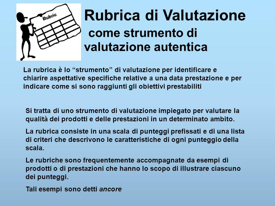 Rubrica di Valutazione come strumento di valutazione autentica