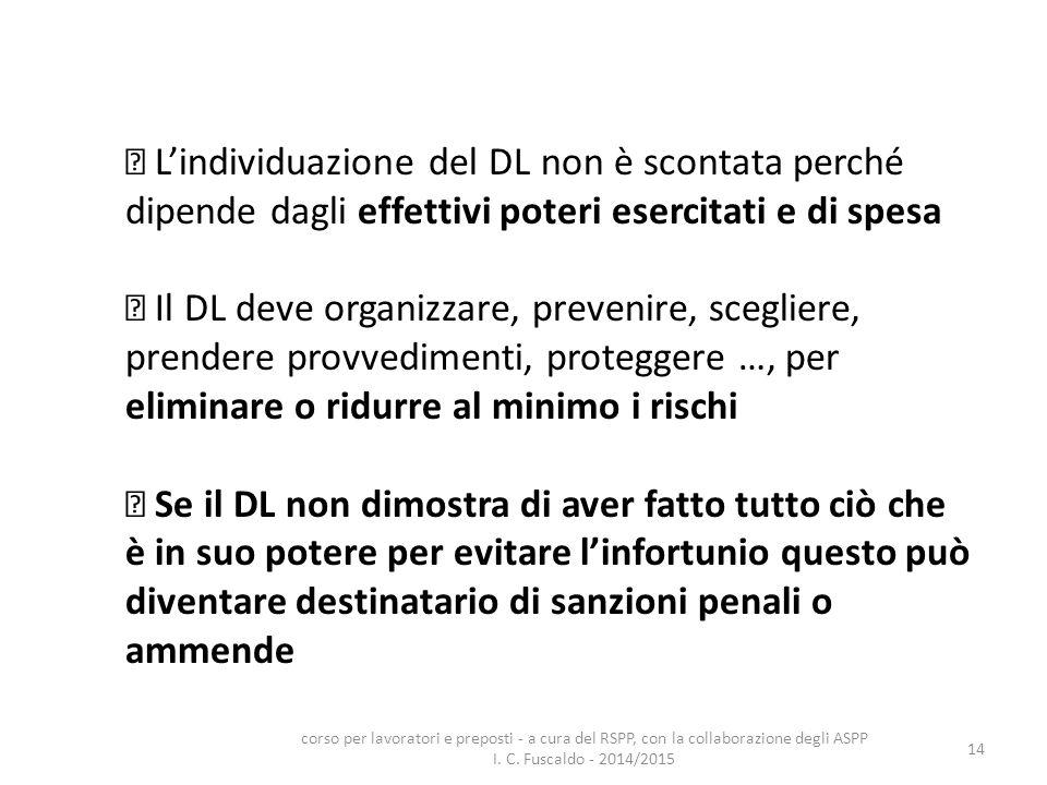  L'individuazione del DL non è scontata perché dipende dagli effettivi poteri esercitati e di spesa