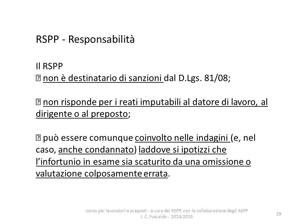 RSPP - Responsabilità Il RSPP