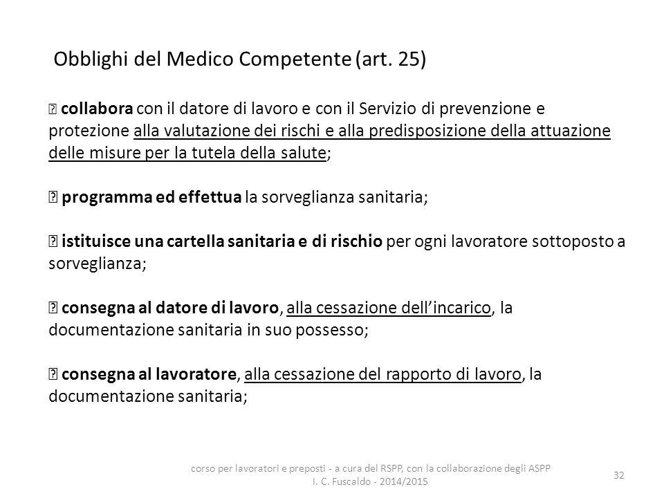 Obblighi del Medico Competente (art. 25)